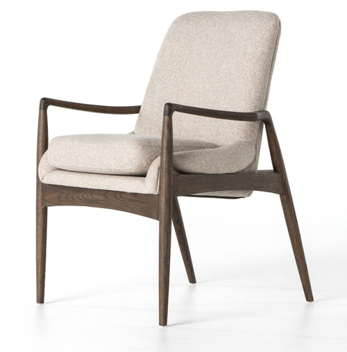 Braden mid century modern upholstered dining arm chair for Mid century modern upholstered chair