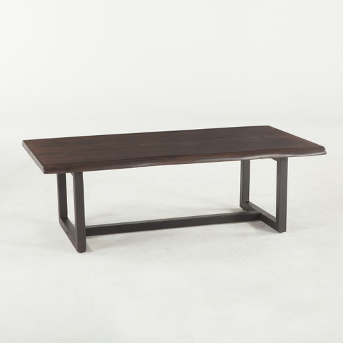 """Live Edge Solid Wood & Iron Coffee Table 52"""""""
