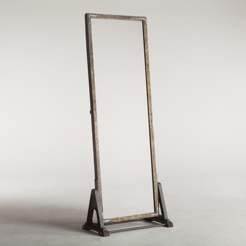 Bethlehem Steampunk Industrial Steel + Wood Floor Mirror