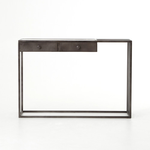... Regan Industrial Iron And White Marble Console Table ...