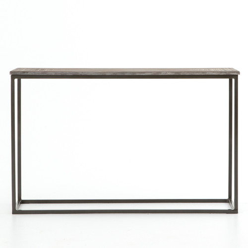 linden industrial iron and marble top parson console tables