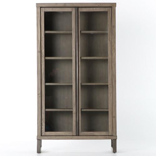 ... Harding Modern Glass Door Display Cabinet - Grey ...