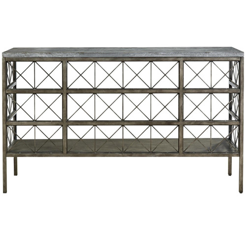 French Industrial Bronze Metal Bluestone Console Table 68