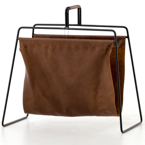 Aesop Brown Leather Magazine Rack