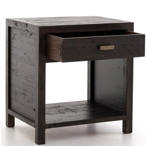 ... Caminito Dark Carbon Reclaimed Wood 1 Drawer Side Table ...