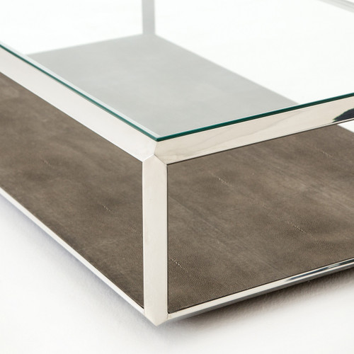 Shagreen shadow box glass top coffee tables polished zin home Glass box coffee table