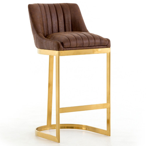 Rory Tobacco Leather Gold Bar Stool Zin Home