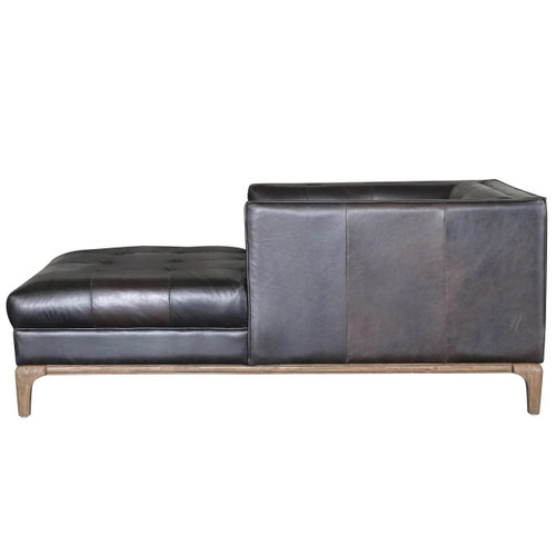... Dylan Mid-Century Modern Black Leather Chaise Lounge Sofa ...  sc 1 st  Zin Home : chaise lounge sofas - Sectionals, Sofas & Couches