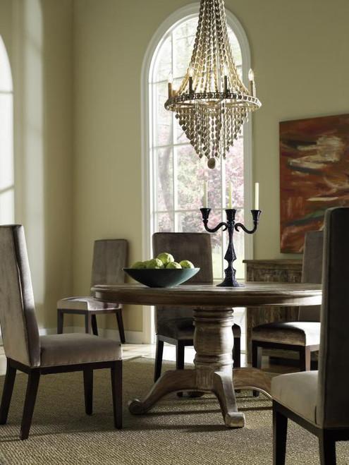 ... Hampton Rustic Wood Pedestal Round Dining Table
