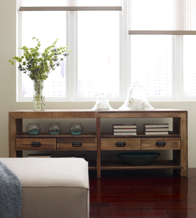 Angora Reclaimed Wood Rustic Media Console With Drawers