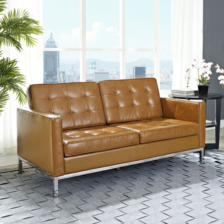 Florence Style Leather Loft Loveseat Zin Home