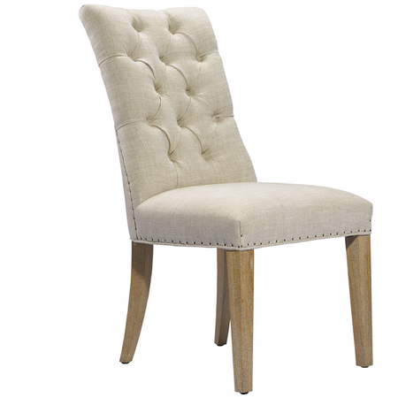 Luxe linen upholstered dining side chair zin home for Upholstered linen dining chairs