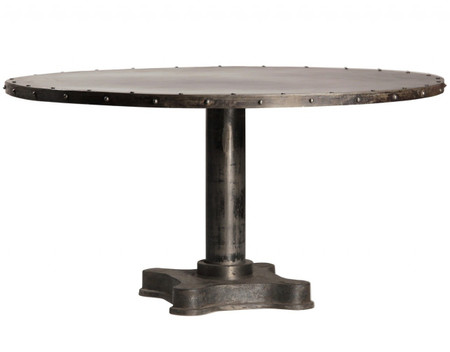 Industrial 60 Quot Round Dining Table Zin Home
