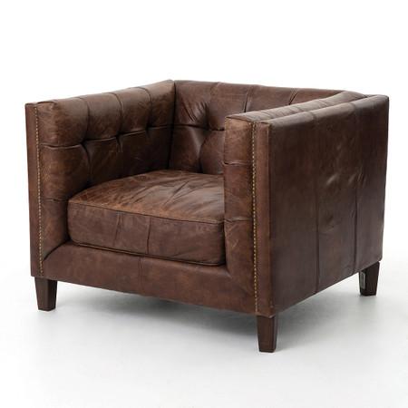 Abbott Vintage Cigar Tufted Leather Club Chair Zin Home