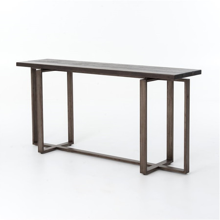 Brant Console Table With Wrought Iron Base Zin Home