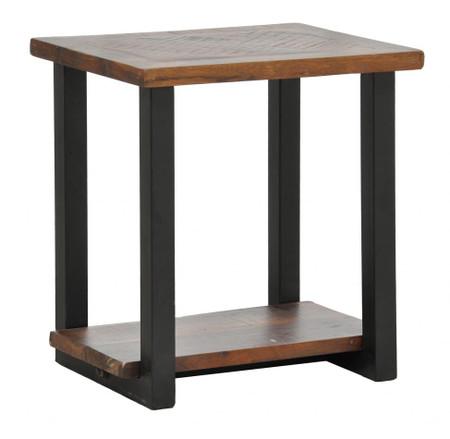 Loft Geometric Metal Base Wooden Side End Table Zin Home