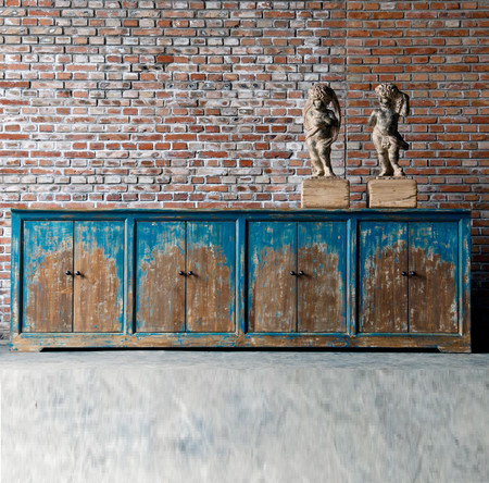 Van Thiel Distressed Blue Painted Large Sideboard With 8