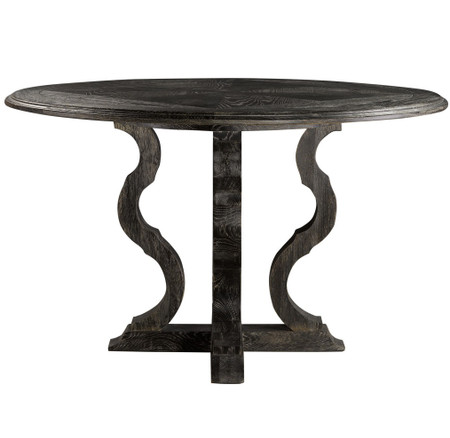 French antique black round pedestal dining table 50quot zin for Round pedestal coffee table antique