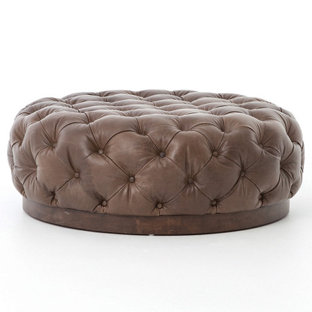 Plateau Round Tufted Leather Cocktail Ottoman Zin Home