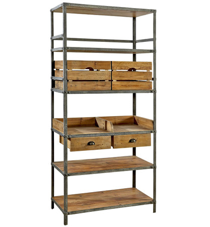 Breeland Industrial Metal Wood Bookcase With Storage