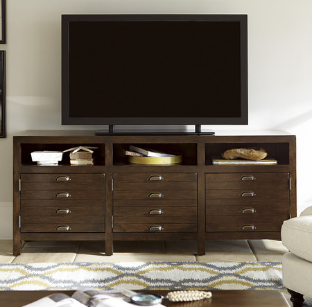 Sonoma Vintage Brown Media Console With Doors Zin Home