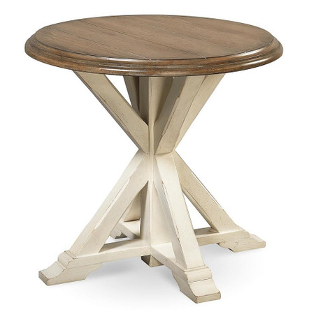 coastal beach white oak round end table zin home. Black Bedroom Furniture Sets. Home Design Ideas