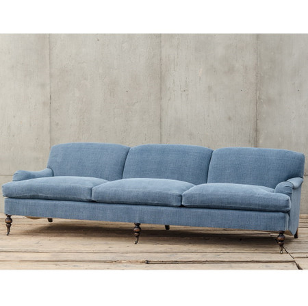 Professor Plum S Blue Linen Upholstered English Roll Arm