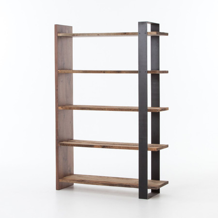 Anderson Industrial Rustic Oak Wood And Metal Bookcase