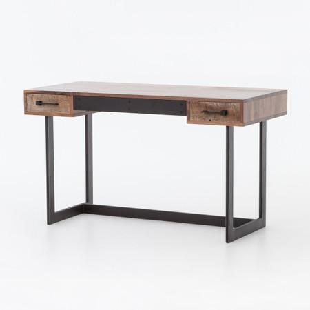 Anderson Industrial Rustic Oak Wood And Metal Writing Desk