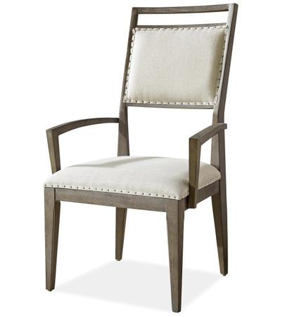 Playlist Vintage Oak Upholstered Dining Arm Chair Zin Home