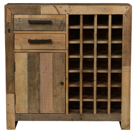 Angora Natural Reclaimed Wood 28 Bottle Wine Cabinet Zin
