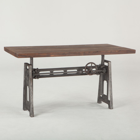 French industrial loft metal and wood crank adjustable - Table basse metal industriel loft ...
