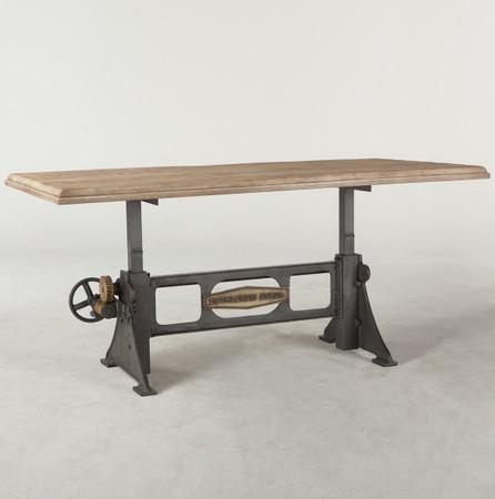 Steampunk Industrial Steel Wood Crank Dining Table 72