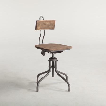 Steampunk Industrial Steel Wood Adjustable Dining Chair