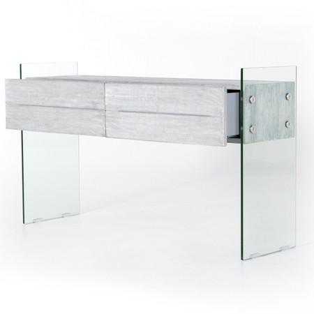 Soho Houston Modern Grey Wood And Glass 2 Drawer Console