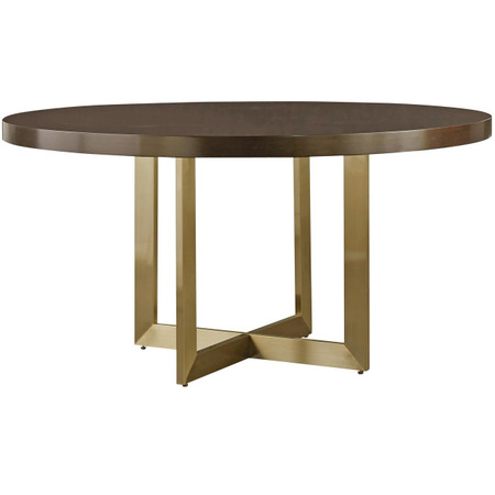 Gibson Modern Brushed Gold Round Wood Dining Table 54