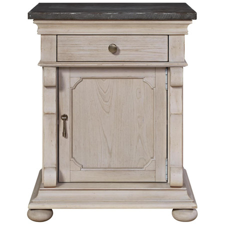 Belgian Cottage Carved Bluestone Top Bed Side Table Zin Home