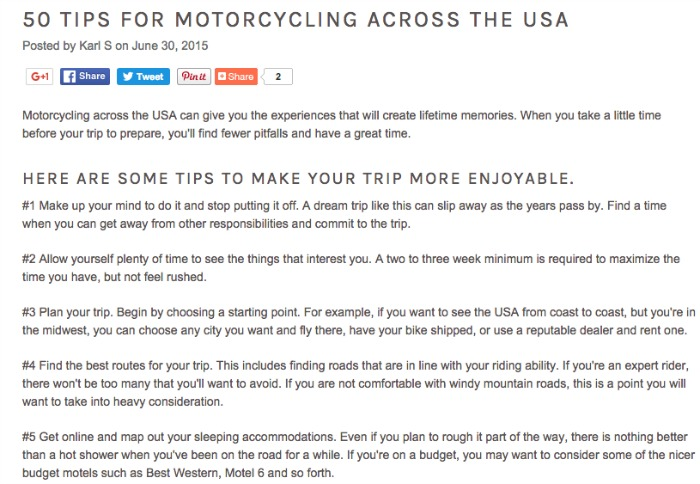 50 Tips for Motorcycling Across the USA