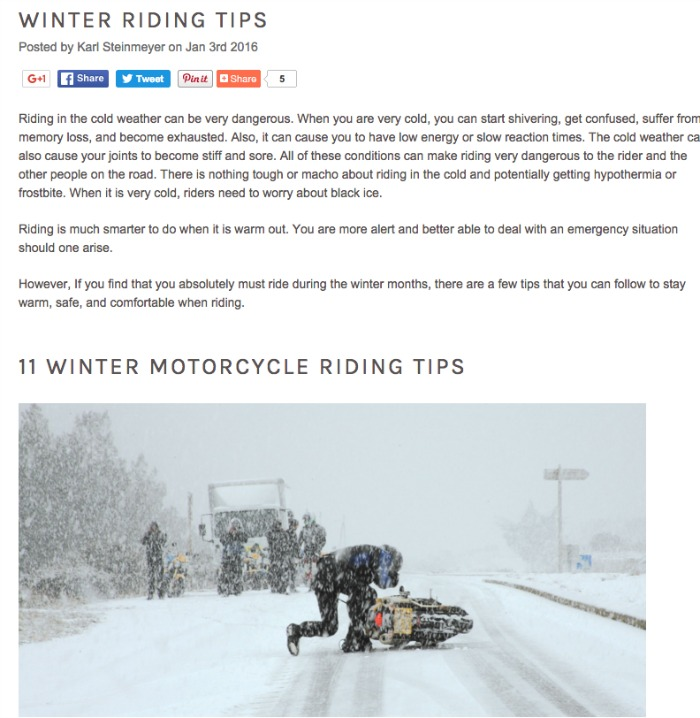 Motorcycle Safety Tips for the Winter