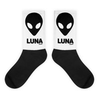 Luna Alien head Logo Black socks