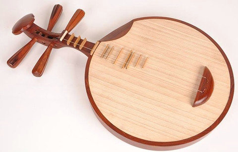 Professional Sandalwood Yueqin Chinese Moon Guitar with Case