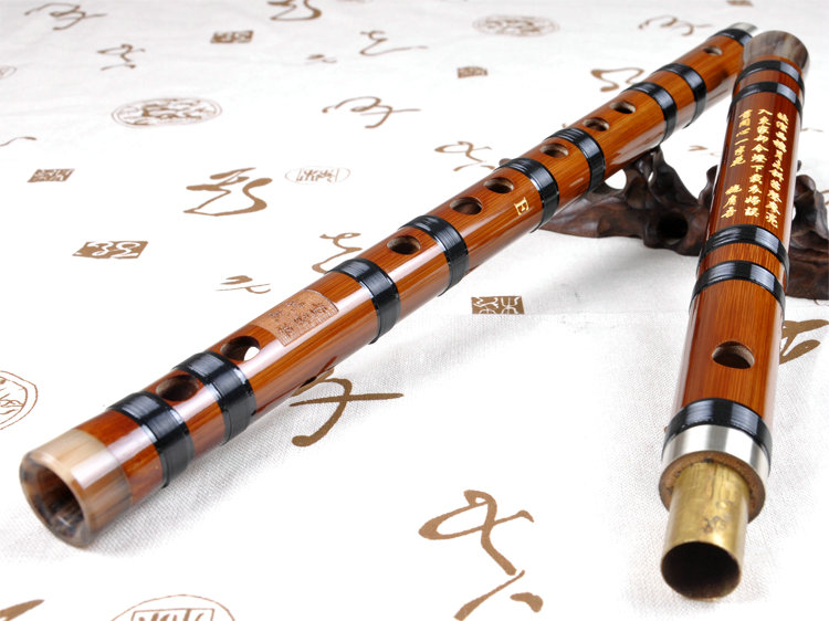 Professional Level Chinese Bitter Bamboo Flute Dizi Instrument with Accessories 2 Sections