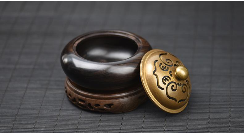 Exquisite Black Sandalwood & Copper Censer for Guqin
