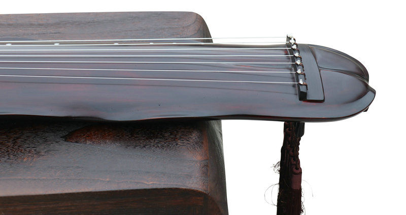 Professional Level Aged Fir Wood Guqin Chinese 7 Stringed Zither Banana Leaf Style