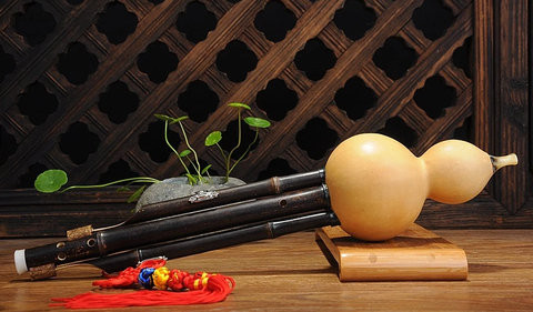Study Level Chinese Yunnan Free Reed Gourd & Bamboo Flute Hulusi Instrument