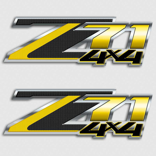 Carbon Fiber Z71 4x4 Yellow Jacket Decals