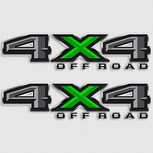 4x4 Ford F-150 Carbon Fiber Green Truck Decals