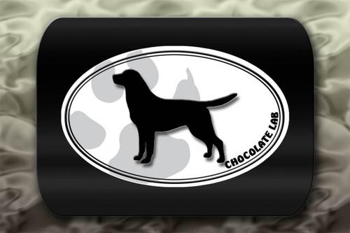 Chocolate Lab Dog Paw Oval