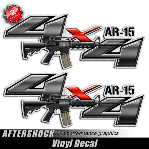 4x4 AR-15 Assault Rifle Gun Decals