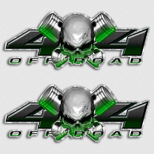 4x4 Green Piston Skull Truck Decals